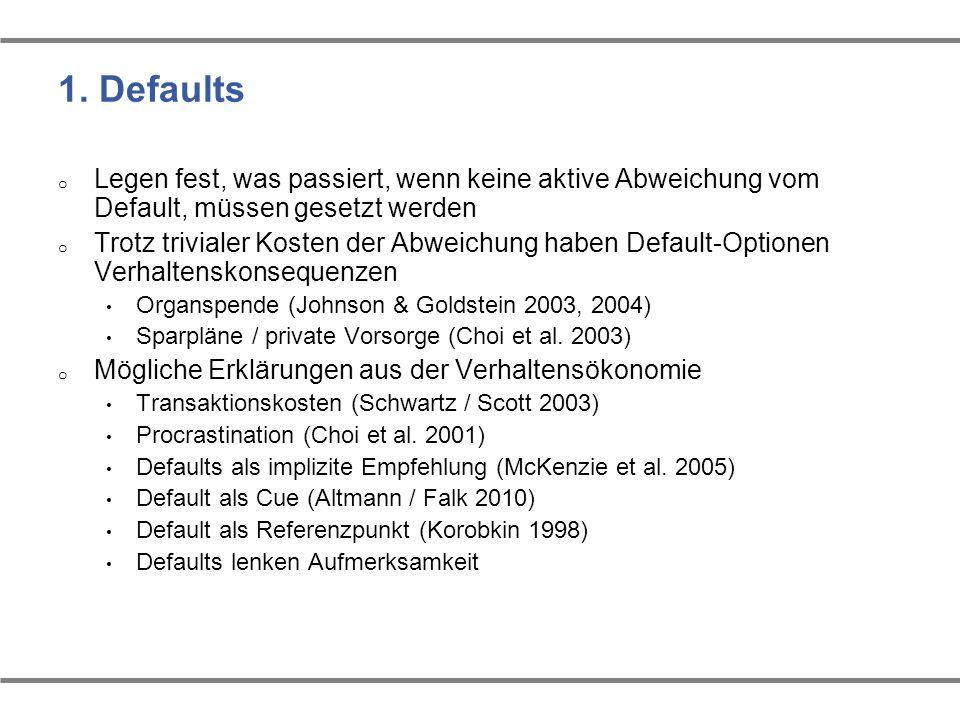 1. Defaults Legen fest, was passiert, wenn keine aktive Abweichung vom Default, müssen gesetzt werden.