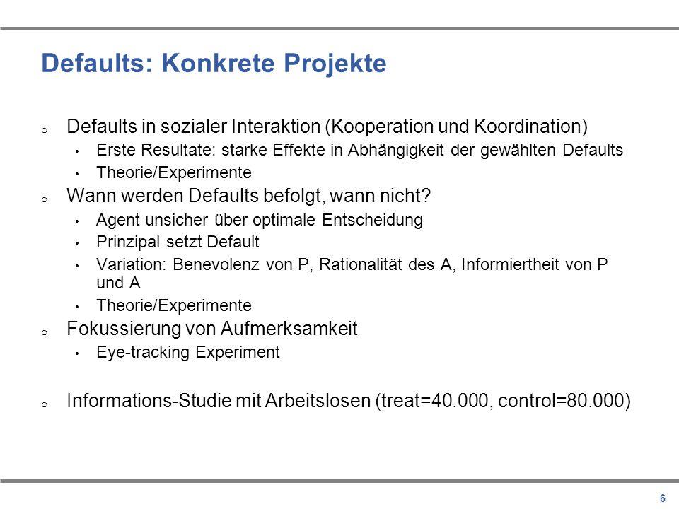 Defaults: Konkrete Projekte