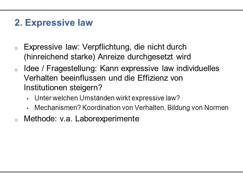 2. Expressive law Expressive law: Verpflichtung, die nicht durch (hinreichend starke) Anreize durchgesetzt wird.