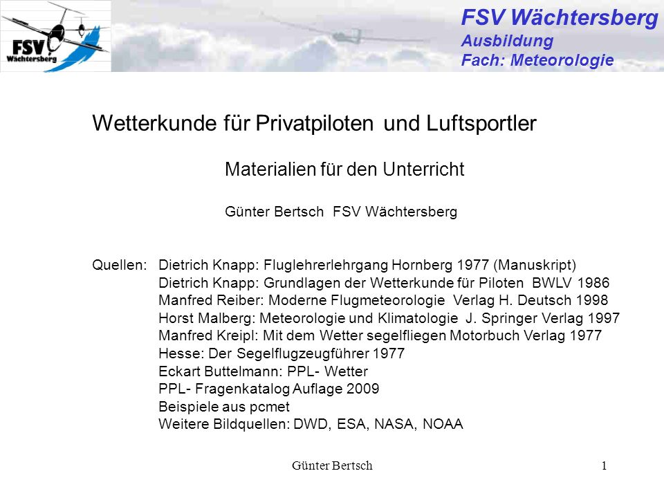 Wetterkunde für Privatpiloten und Luftsportler