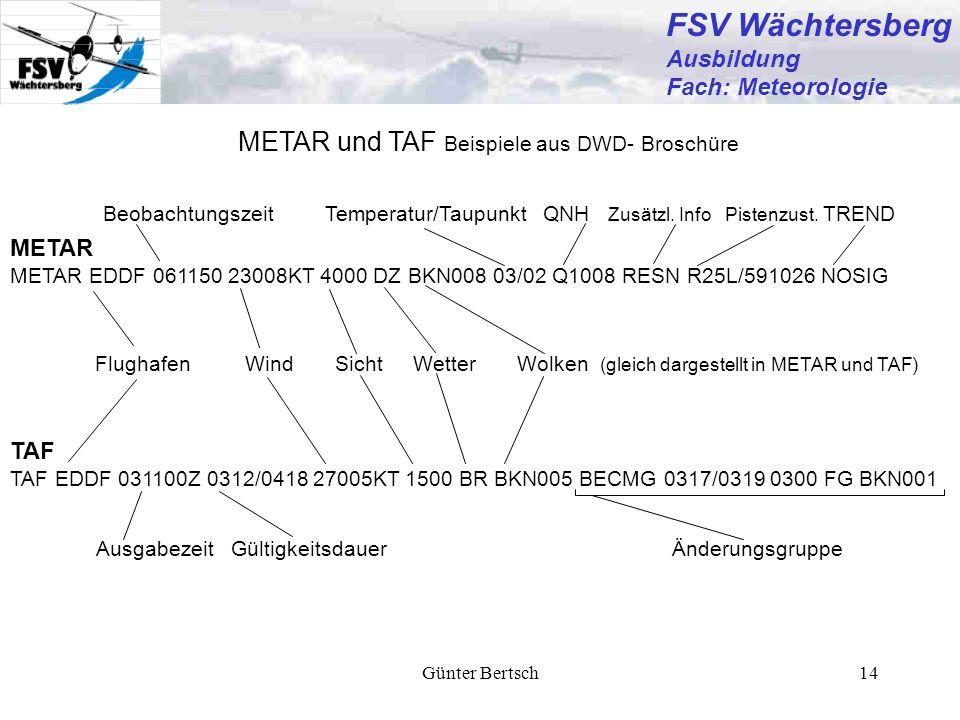 FSV Wächtersberg METAR und TAF Beispiele aus DWD- Broschüre Ausbildung