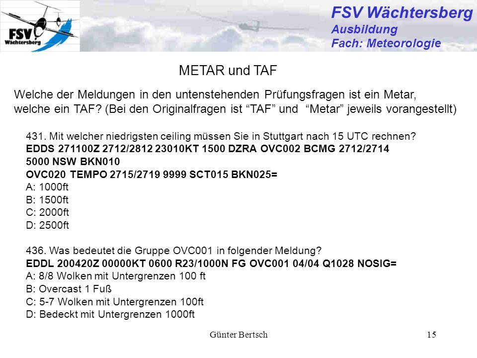 FSV Wächtersberg METAR und TAF Ausbildung Fach: Meteorologie