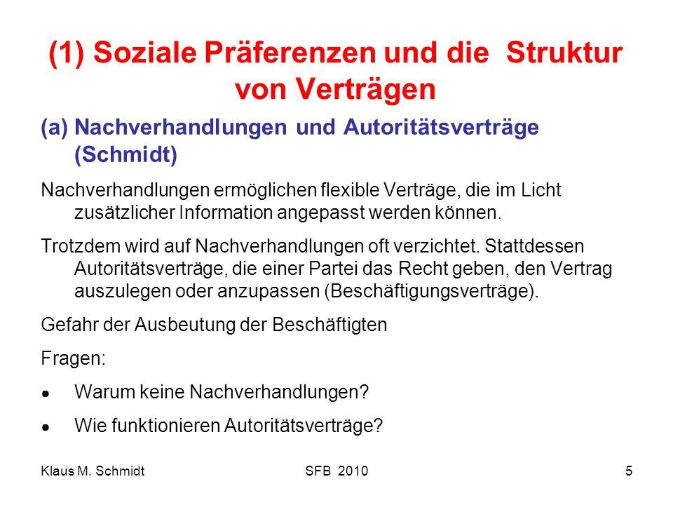(1) Soziale Präferenzen und die Struktur von Verträgen