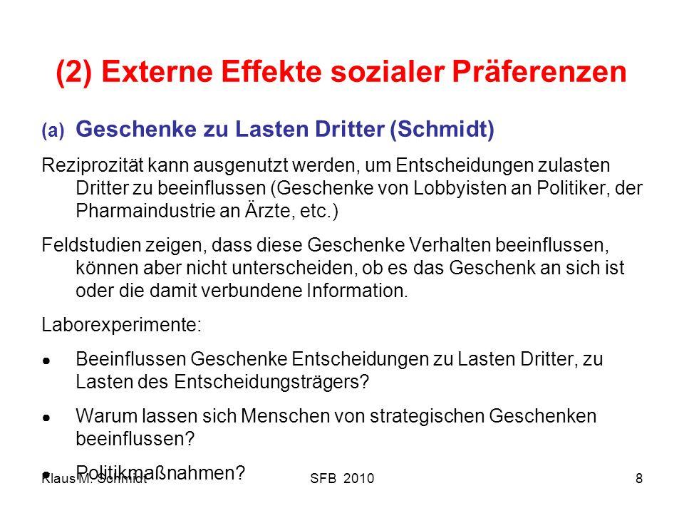 (2) Externe Effekte sozialer Präferenzen