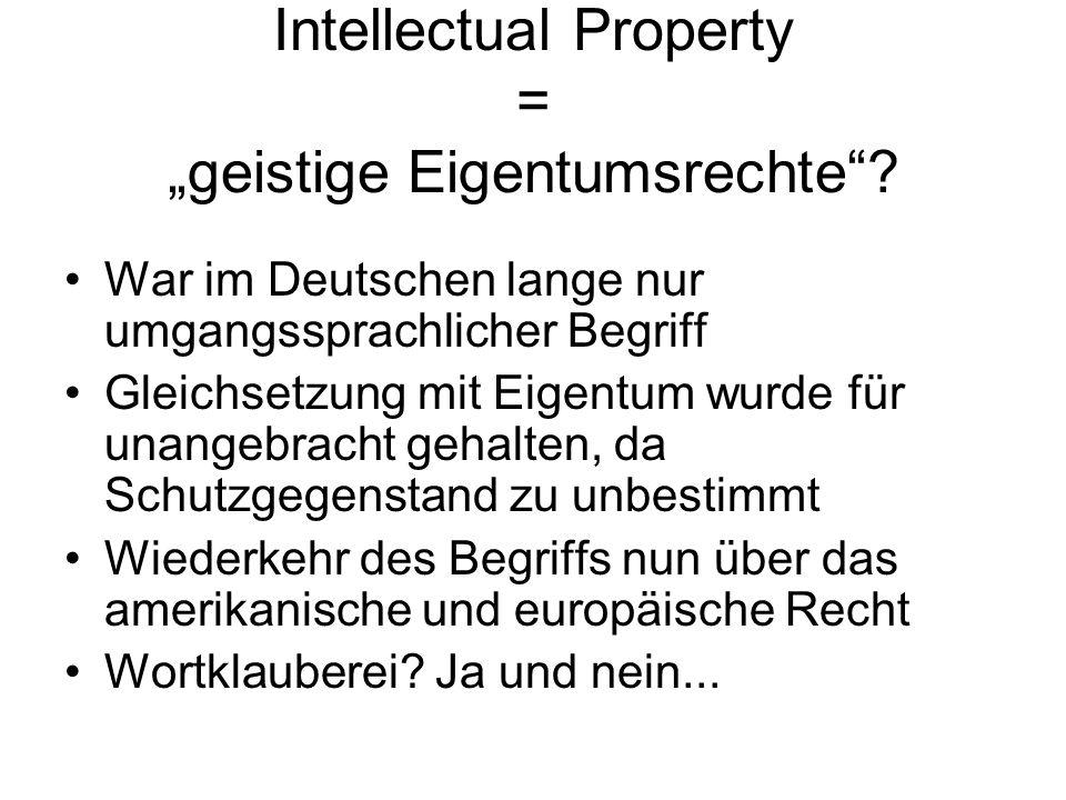 "Intellectual Property = ""geistige Eigentumsrechte"