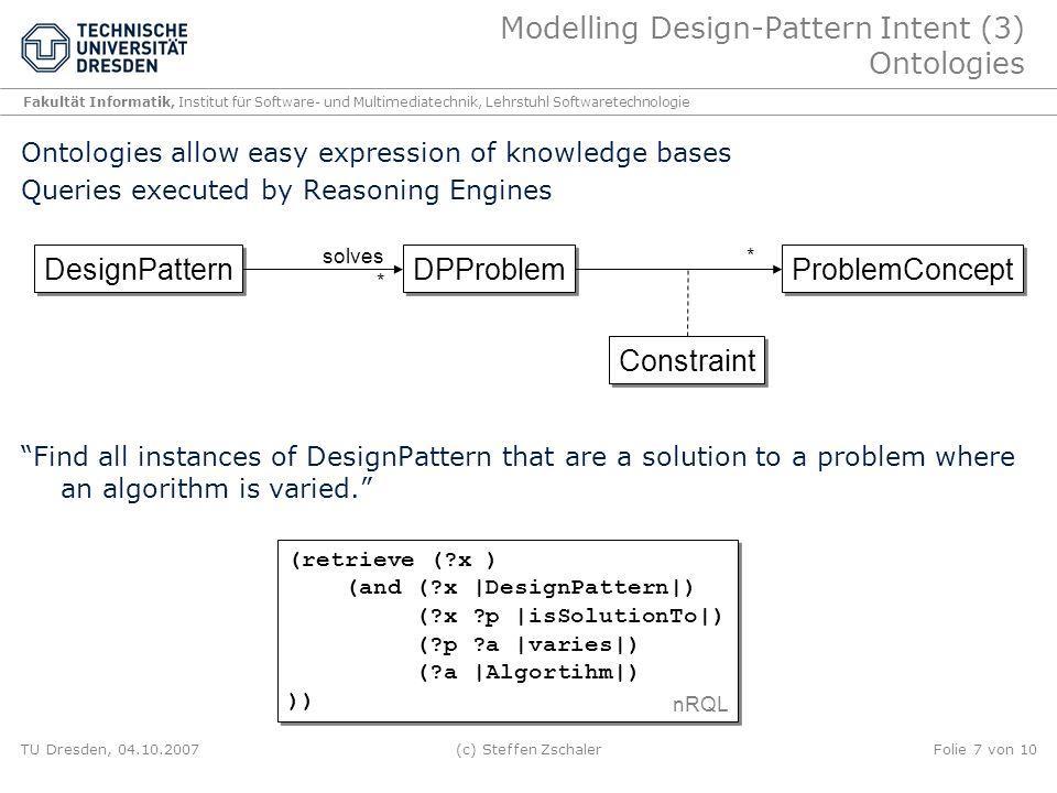 Modelling Design-Pattern Intent (3) Ontologies