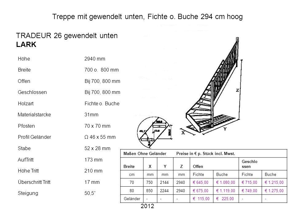 Treppe mit gewendelt unten, Fichte o. Buche 294 cm hoog