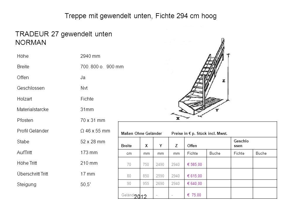 Treppe mit gewendelt unten, Fichte 294 cm hoog