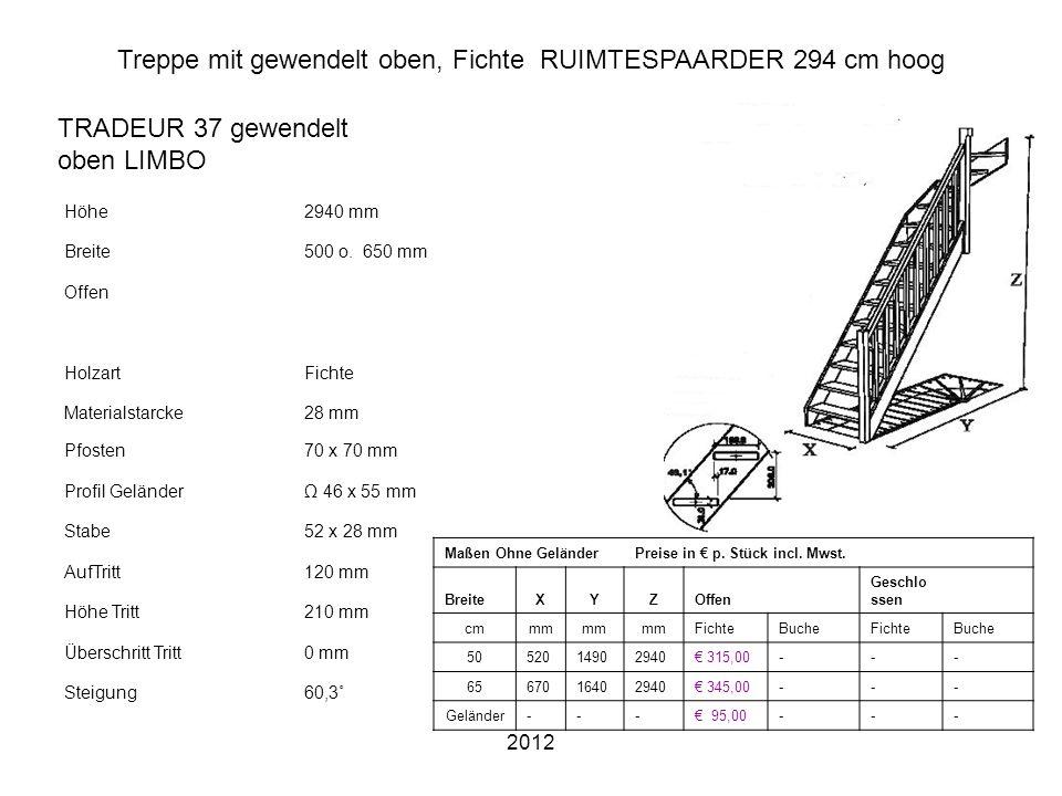 Treppe mit gewendelt oben, Fichte RUIMTESPAARDER 294 cm hoog