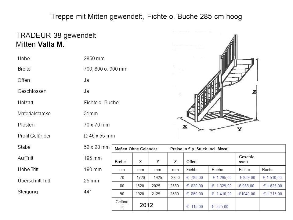 Treppe mit Mitten gewendelt, Fichte o. Buche 285 cm hoog