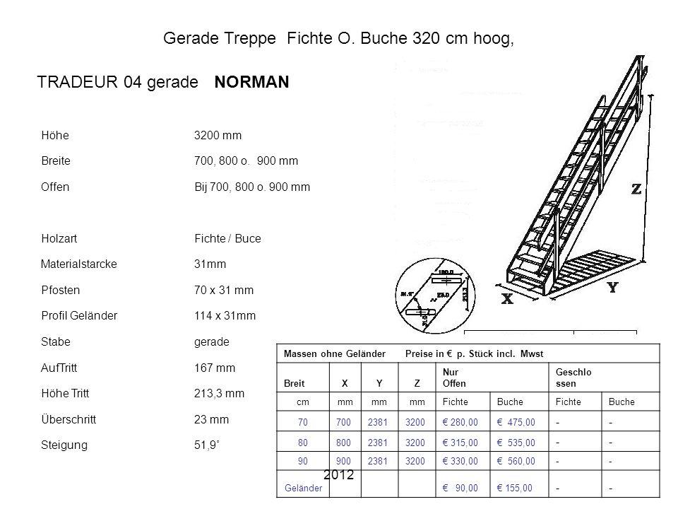 Gerade Treppe Fichte O. Buche 320 cm hoog,