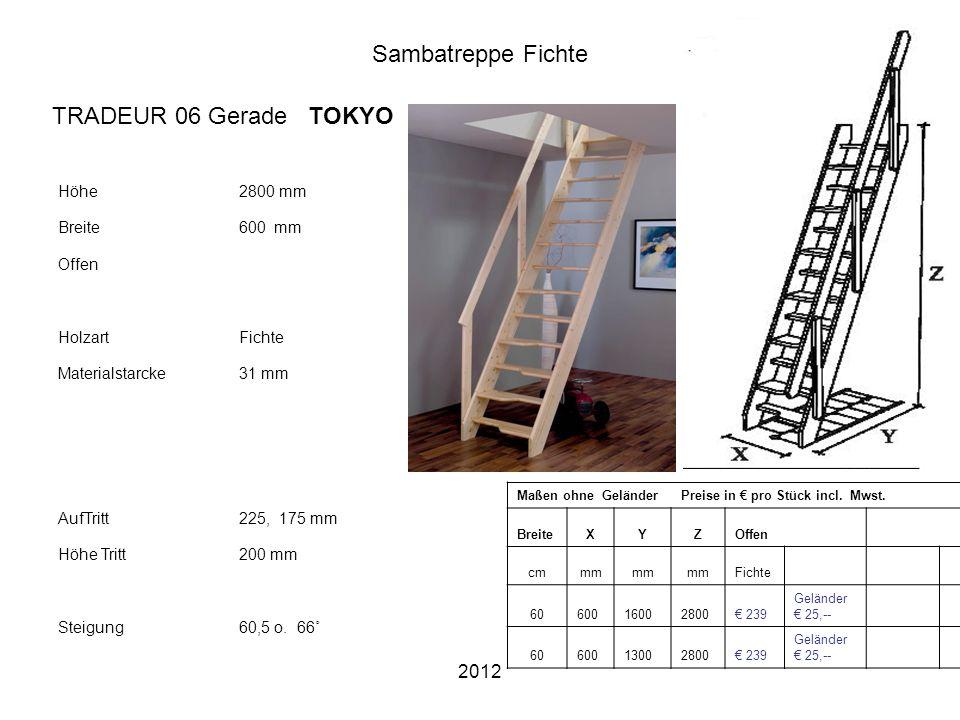 Sambatreppe Fichte TRADEUR 06 Gerade TOKYO 2012 Höhe 2800 mm Breite
