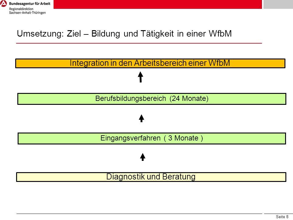 Umsetzung: Ziel – Bildung und Tätigkeit in einer WfbM