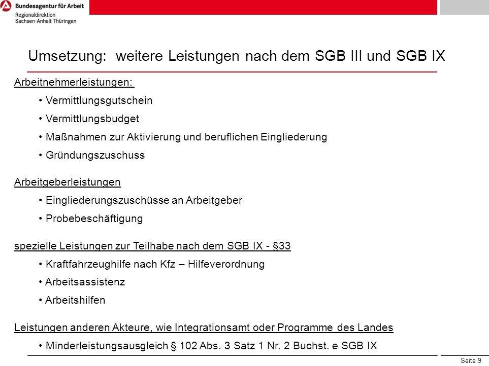 Umsetzung: weitere Leistungen nach dem SGB III und SGB IX