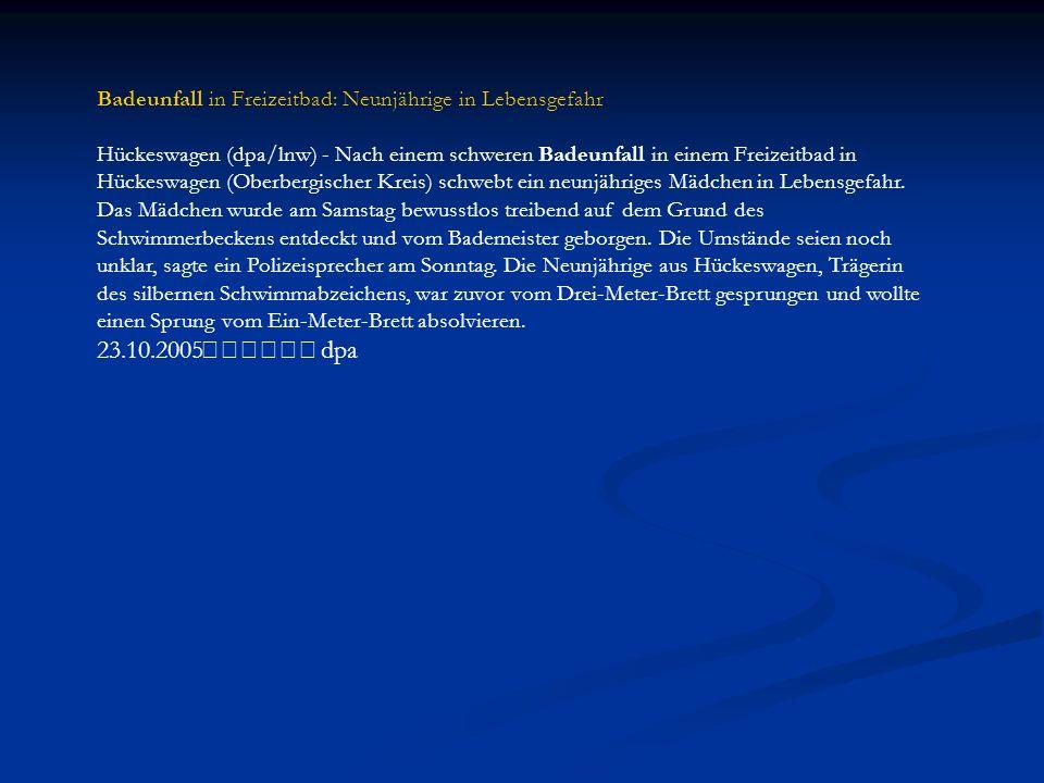 Badeunfall in Freizeitbad: Neunjährige in Lebensgefahr