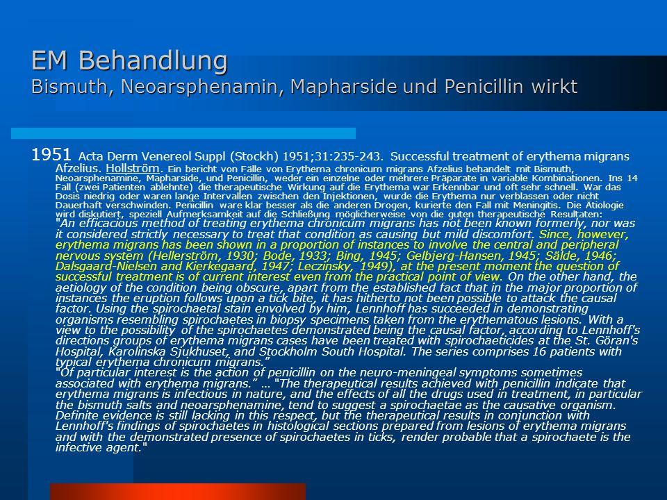 EM Behandlung Bismuth, Neoarsphenamin, Mapharside und Penicillin wirkt