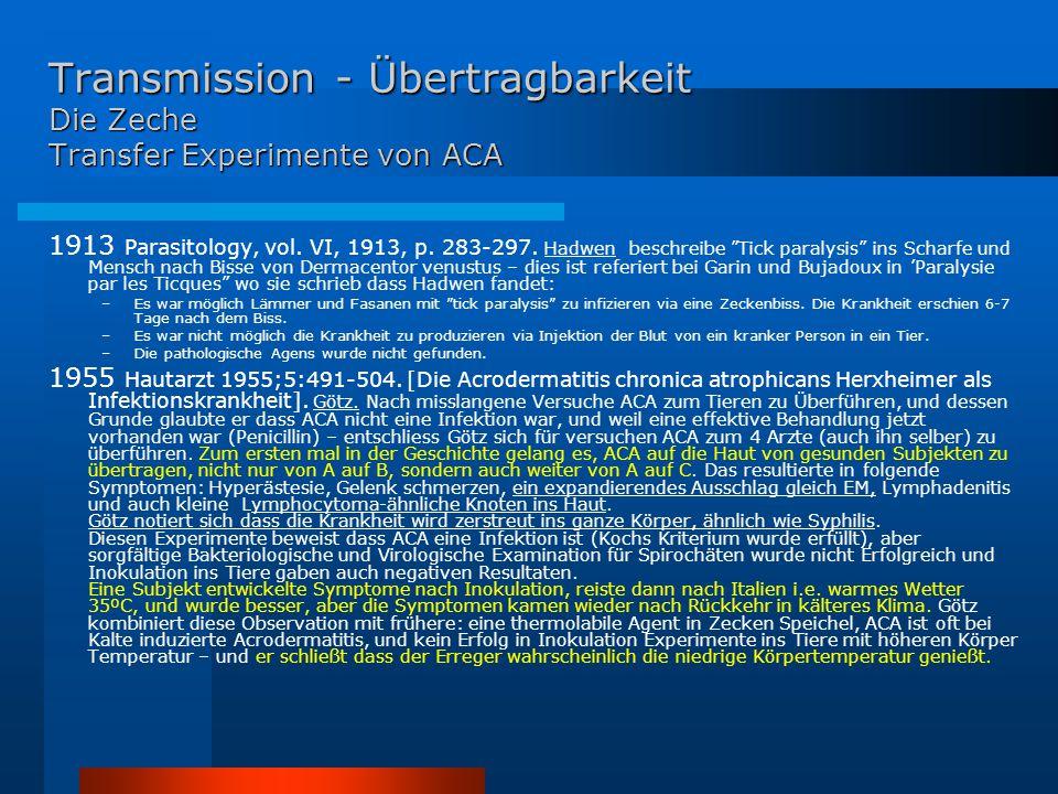 Transmission - Übertragbarkeit Die Zeche Transfer Experimente von ACA