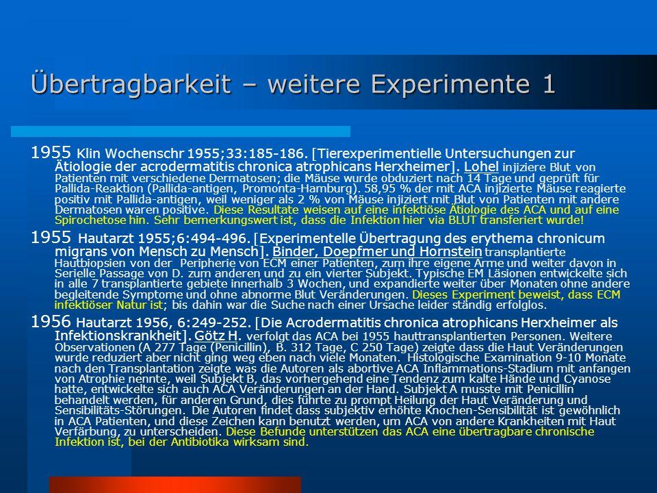 Übertragbarkeit – weitere Experimente 1