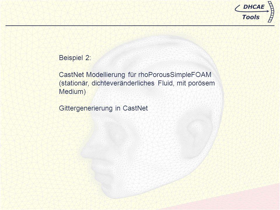 Beispiel 2: CastNet Modellierung für rhoPorousSimpleFOAM. (stationär, dichteveränderliches Fluid, mit porösem Medium)