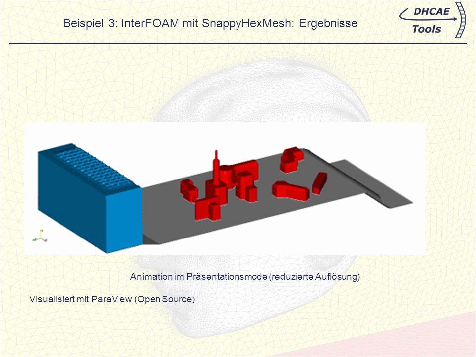 Beispiel 3: InterFOAM mit SnappyHexMesh: Ergebnisse