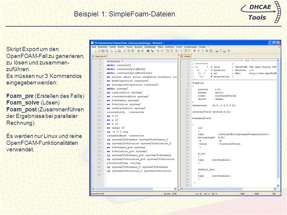 Beispiel 1: SimpleFoam-Dateien