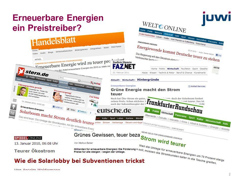 Erneuerbare Energien ein Preistreiber