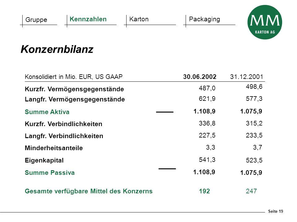 Konzernbilanz Gruppe Kennzahlen Karton Packaging 30.06.2002 31.12.2001
