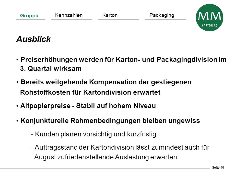 Ausblick Preiserhöhungen werden für Karton- und Packagingdivision im
