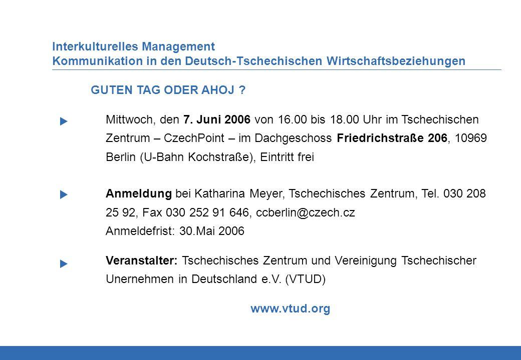 Interkulturelles Management Kommunikation in den Deutsch-Tschechischen Wirtschaftsbeziehungen