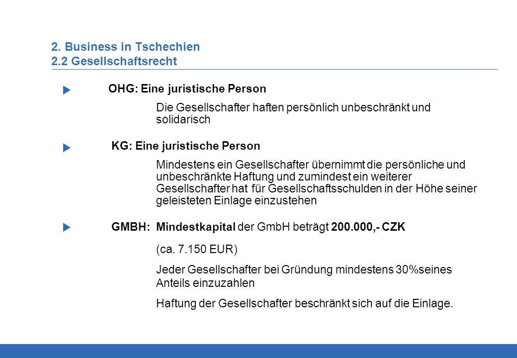 2. Business in Tschechien 2.2 Gesellschaftsrecht