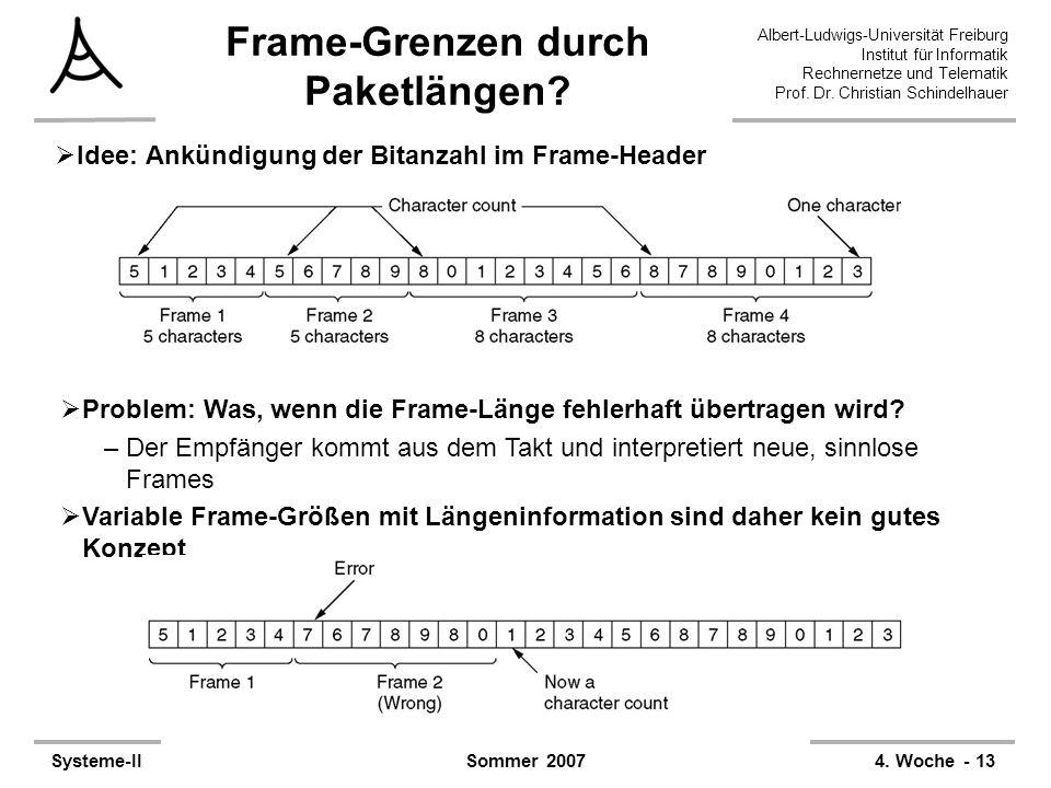 Frame-Grenzen durch Paketlängen