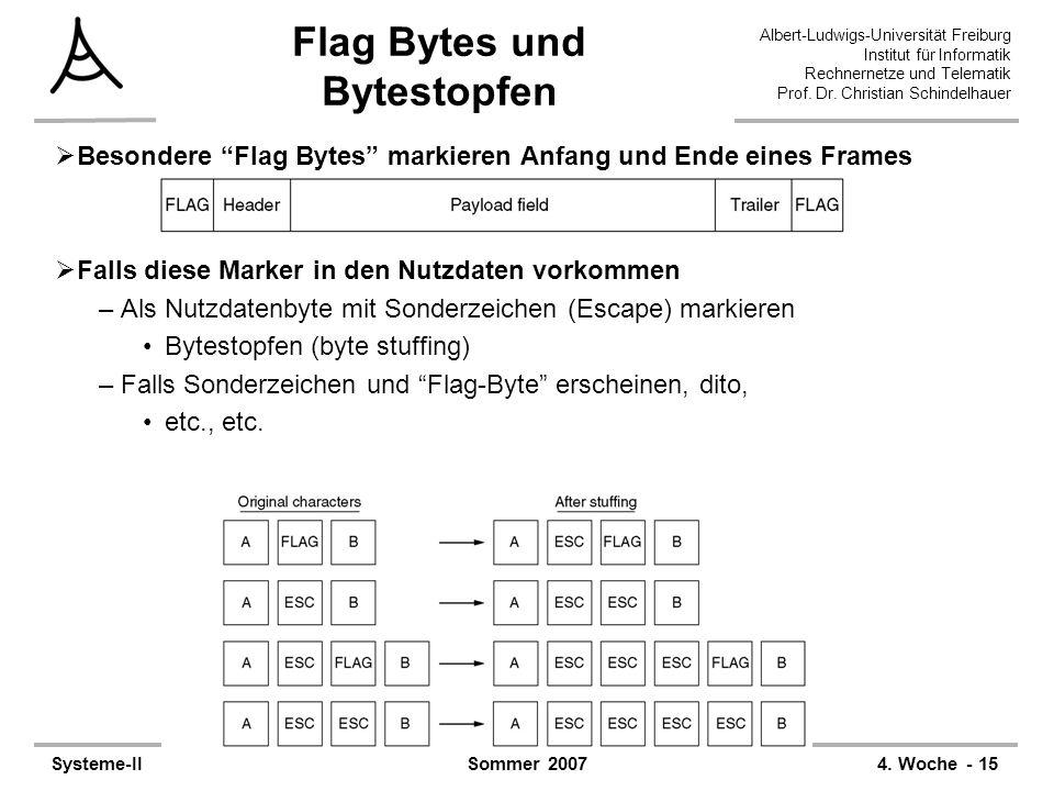 Flag Bytes und Bytestopfen