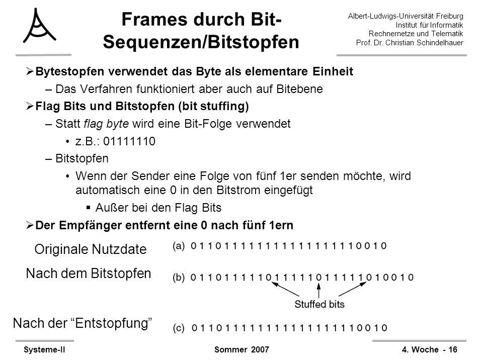 Frames durch Bit-Sequenzen/Bitstopfen
