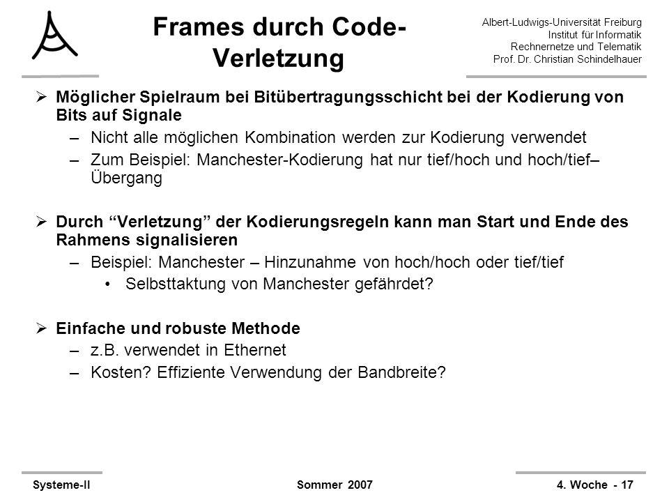 Frames durch Code-Verletzung