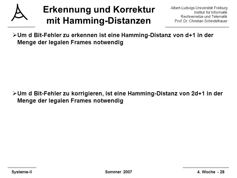 Erkennung und Korrektur mit Hamming-Distanzen