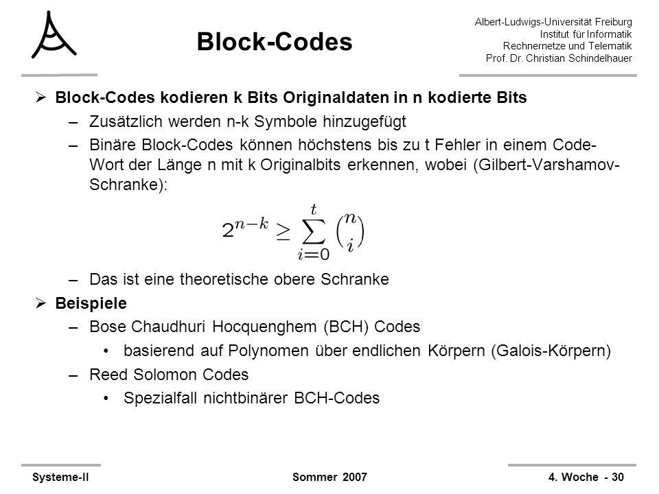 Block-Codes Block-Codes kodieren k Bits Originaldaten in n kodierte Bits. Zusätzlich werden n-k Symbole hinzugefügt.