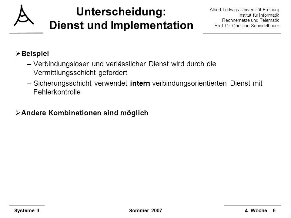 Unterscheidung: Dienst und Implementation