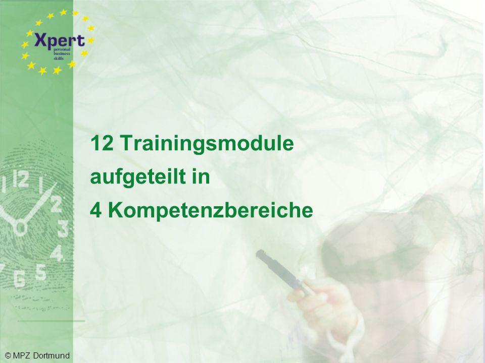 12 Trainingsmodule aufgeteilt in 4 Kompetenzbereiche