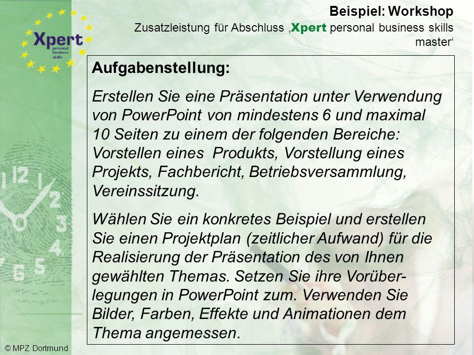 Beispiel: Workshop Zusatzleistung für Abschluss 'Xpert personal business skills master'