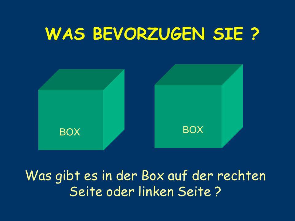 Was gibt es in der Box auf der rechten Seite oder linken Seite