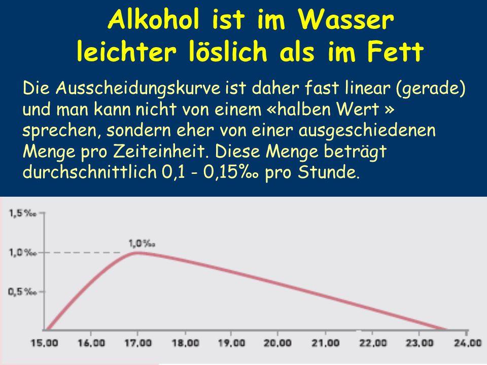 Alkohol ist im Wasser leichter löslich als im Fett
