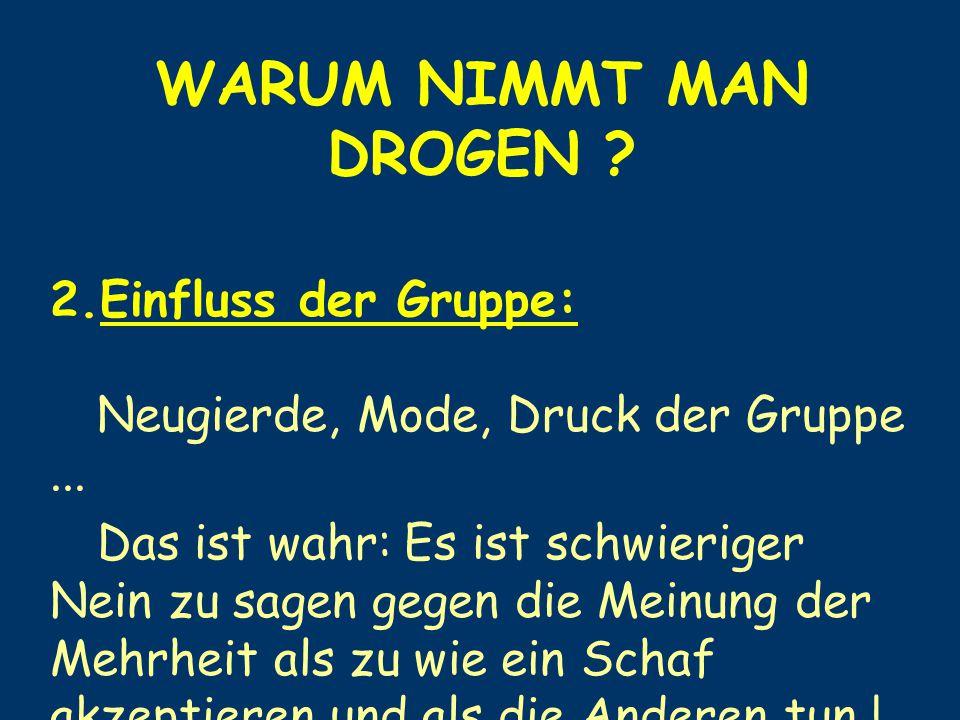 WARUM NIMMT MAN DROGEN Einfluss der Gruppe: