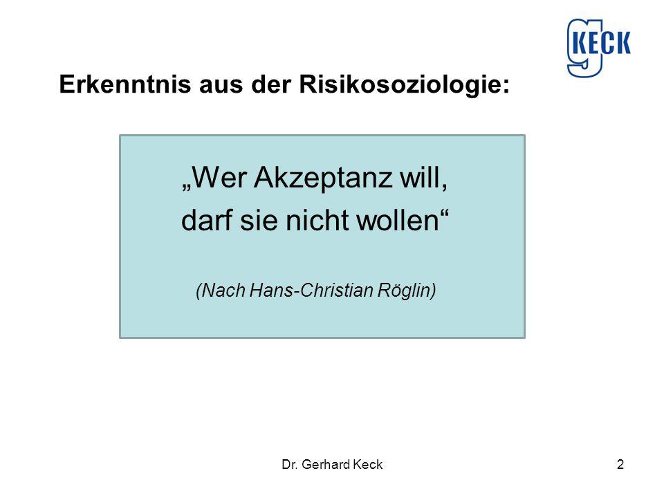 Erkenntnis aus der Risikosoziologie: