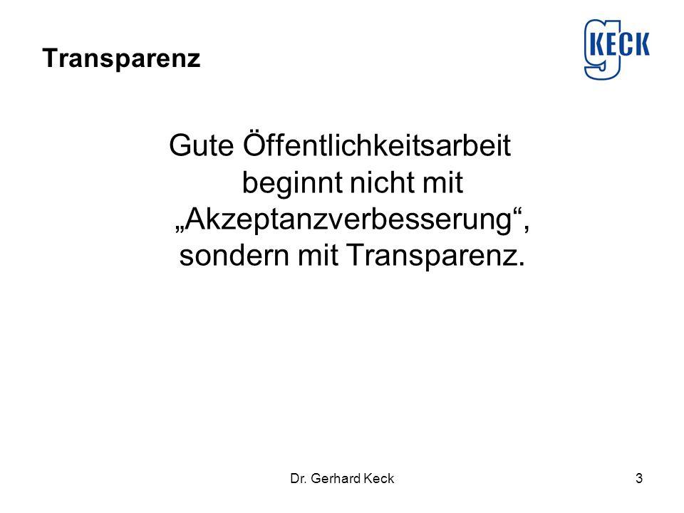 """Transparenz Gute Öffentlichkeitsarbeit beginnt nicht mit """"Akzeptanzverbesserung , sondern mit Transparenz."""