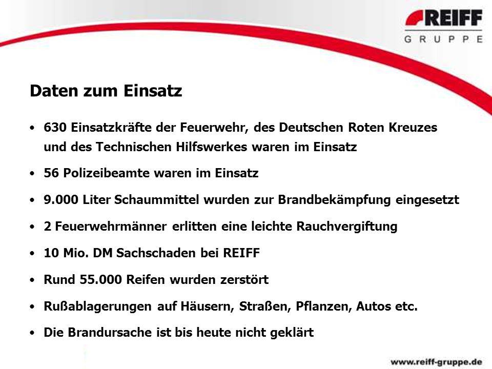 Daten zum Einsatz 630 Einsatzkräfte der Feuerwehr, des Deutschen Roten Kreuzes und des Technischen Hilfswerkes waren im Einsatz.