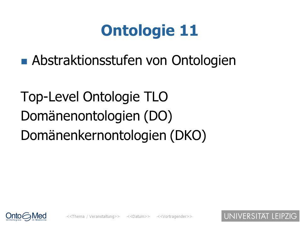 Ontologie 11 Abstraktionsstufen von Ontologien Top-Level Ontologie TLO