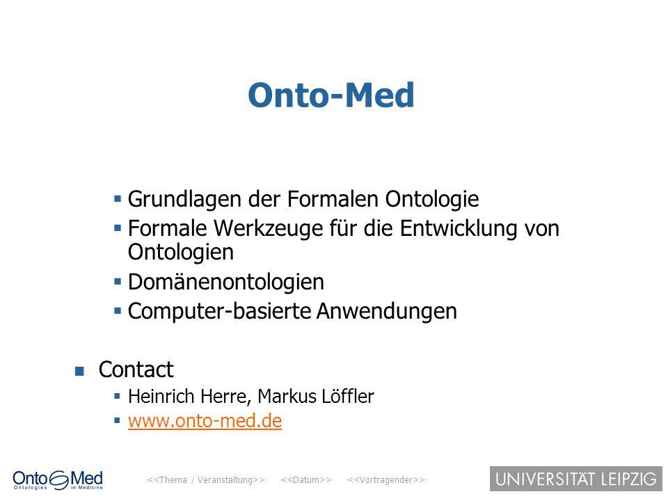 Onto-Med Grundlagen der Formalen Ontologie