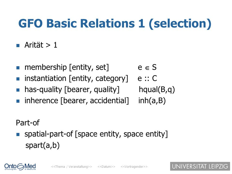 GFO Basic Relations 1 (selection)