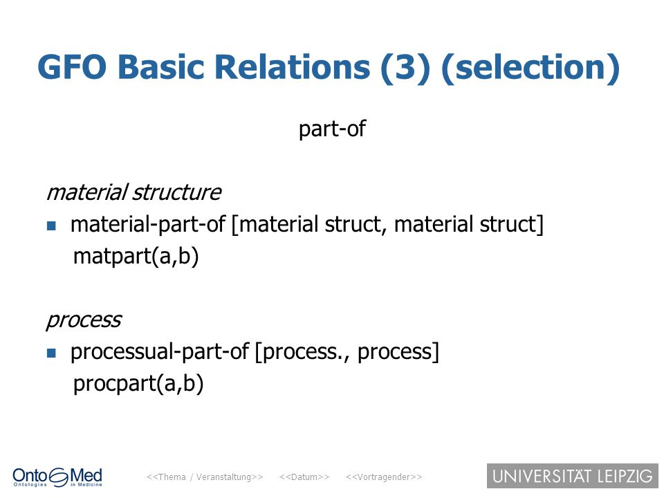 GFO Basic Relations (3) (selection)