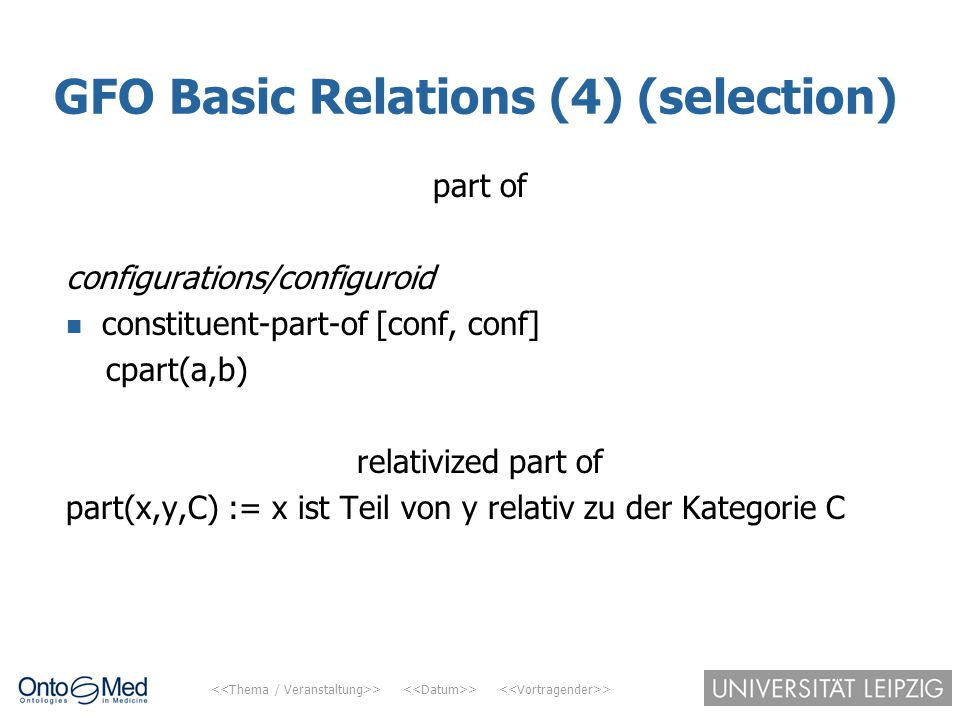 GFO Basic Relations (4) (selection)